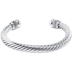 Beach Chic Silver Plated Rope Cuff Bracelet