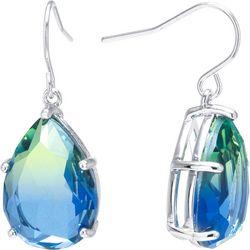 Blue Multi Glass Facet Teadrop Earrings