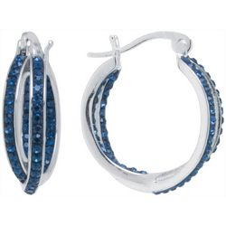 Lily Maris Blue Crystal Crisscross Hoop Earrings