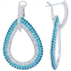 Aqua Crystal Teardrop Earrings