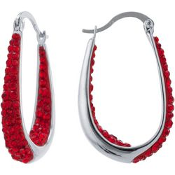 Lily Maris Red Crystal In/Out Click It Hoop Earrin