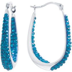 Lily Maris Aqua Crystal In/Out Hoop Earrings