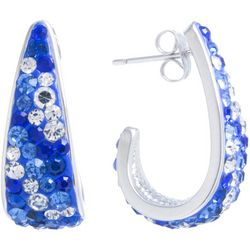 Lily Maris 24MM Bue Multi Pave C Hoop Earrings