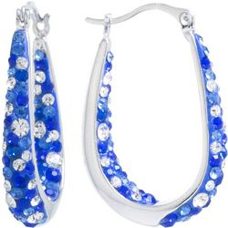 Lily Maris Blue Multi Crystal In/Out Hoop Earrings