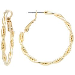 Starfish Box Gold Tone Twisted Hoop Earrings