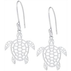 Beach Chic Silver Tone Sea Turtle Earrings