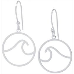 Beach Chic Silver Tone Wave Earrings