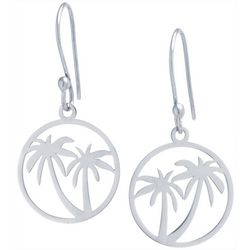 Beach Chic Silver Tone Palm Tree Earrings