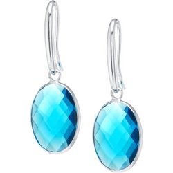 Lily Maris Aqua Glass Facet Oval Drop Earrings