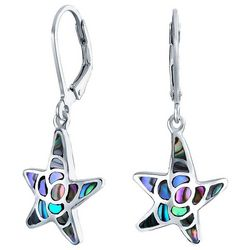 BLING Abalone Shell Nautical Starfish Dangle Earrings