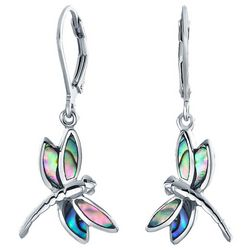 BLING Abalone Shell Dragonfly Dangle Earrings