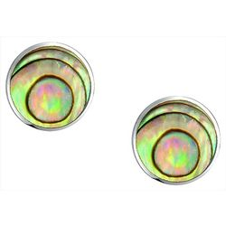 BLING Round Abalone Shell Stud Earrings