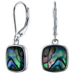 BLING Sterling Silver Square Abalone Drop Earrings