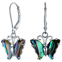 BLING Natural Abalone Shell Butterfly Dangle Earrings