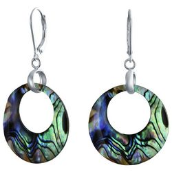BLING Abalone Round Hoop Sterling Silver Dangle Earrings