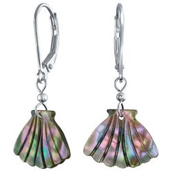 BLING Abalone Clam Shell Sterling Silver Dangle Earrings