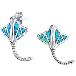 BLING Blue Stingray Sterling Silver Stud Earrings