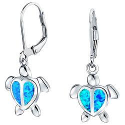 BLING Jewelry Sea Turtle Leverback Opal Earrings
