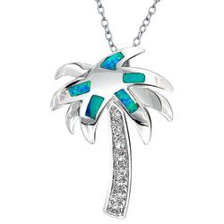BLING Jewelry Blue Opal Palm Tree Pendant Necklace