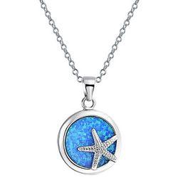 BLING Blue Nautical Starfish Pendant Necklace
