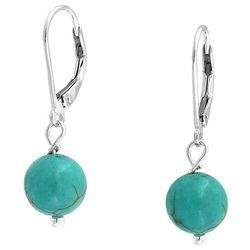 BLING Turquoise Blue Bead Leverback Earrings