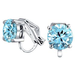 BLING Aqua Blue Glass Solitaire Clip On Earrings
