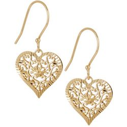 Pure 100 Gold Tone Filigree Heart Earrings