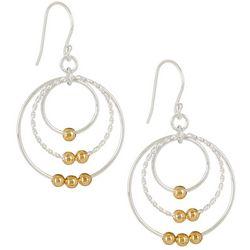 Pure 100 Two Tone Triple Hoop Dangle Earrings