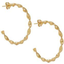Pure 100 Gold Tone Twisted C Hoop Earrings