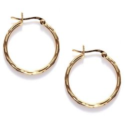 Pure 100 Textured Simple Hoop Earrings