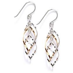 Two Tone Spiral Drop Earrings