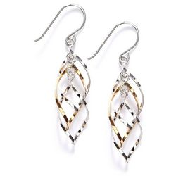 Pure 100 Two Tone Spiral Drop Earrings