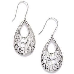 Pure 100 Teardrop Swirl Dangle Earrings