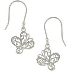 Pure 100 Silver Tone Filigree Butterfly Earrings