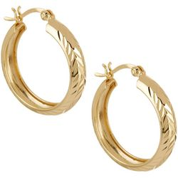 Pure 100 Gold Tone Diamond Cut Hoop Earrings