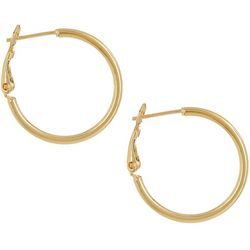 Pure 100 25mm Gold Tone Clutchless Hoop Earrings