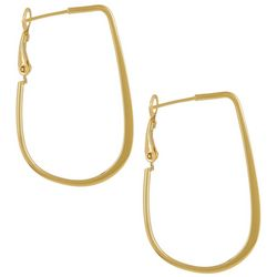 Pure 100 Gold Tone Elongated Hoop Earrings