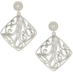 Pure 100 Silver Tone Filigree Post Top Earrings