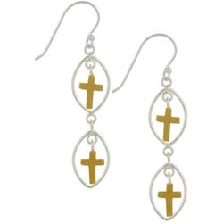 Pure 100 Two Tone Double Cross Dangle Earrings