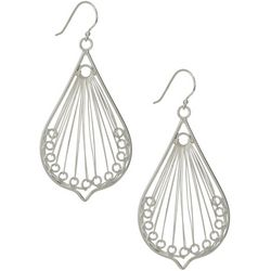Pure 100 Silver Tone Wire Teardrop Earrings