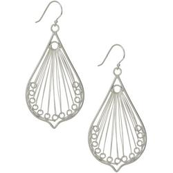 Silver Tone Wire Teardrop Earrings