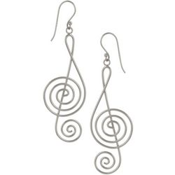 Pure 100 Silver Tone Music Note Dangle Earrings