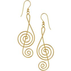 Pure 100 Gold Tone Music Note Dangle Earrings