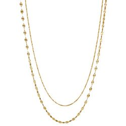 Pure 100 Gold Tone 24'' Double Row Diamond Cut Necklace