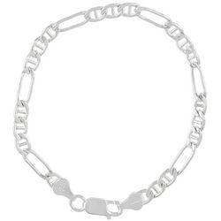 Signature Sterling Silver Figaro Anchor 5mm Bracelet