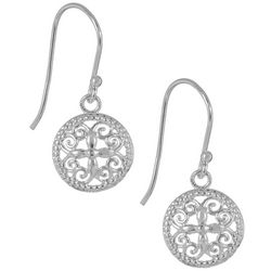 Signature Sterling Silver Round Filgree Earrings