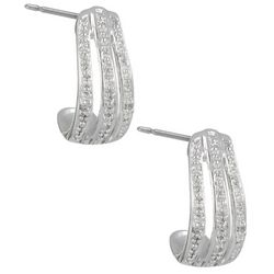 Signature Sterling Silver Small CZ Hoop Earrings