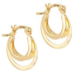 Pure 100 Gold 3-Row Small Hoop Earrings