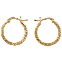 Piper & Taylor Gold Plate Deep Diamond Cut Hoop Earrings