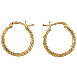 Gold Plate Deep Diamond Cut Hoop Earrings